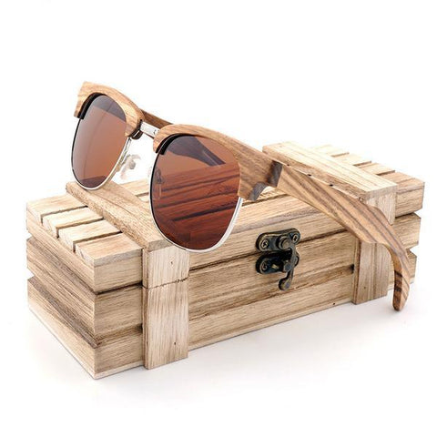 Half Frame Zebra Wooden Sunglasses - Polarized - Wood Addictions