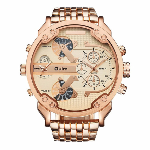 Oulm Brand Military Watches Rose Gold Big Dial Quartz Watch 2 Time Zones Men Full Stainless Steel Wristwatch Relogio Masculino