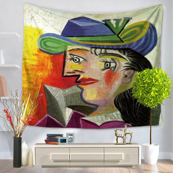 Picasso Clown Tapestry Hanging Sandy Beach A Piece Of Cloth Sit Carpet GT1049