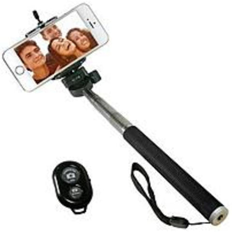 NOB iCover IC-SELFIE-BK Selfie Stick with Bluetooth Remote for Smartphones - Black