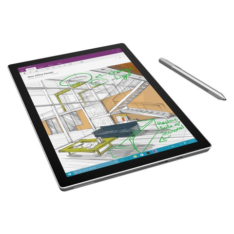 A Microsoft Surface Pro 4 TZ7-00001 Tablet PC with Surface Pro 4 Black Type Case - Intel Core i5-6300U 2.4 GHz Dual-Core Processor - 8 GB RAM - 256 GB Solid State Drive - 12.3-inch Touchscreen Display - Windows 10 Professional 64-bit Edition