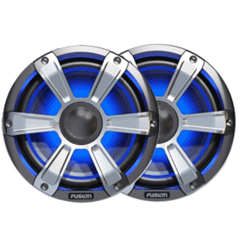 FUSION FL77SPC Signature Series Speakers - 7.7, 280W Coaxial Sport - Silver/Chrome w/LED Illumination