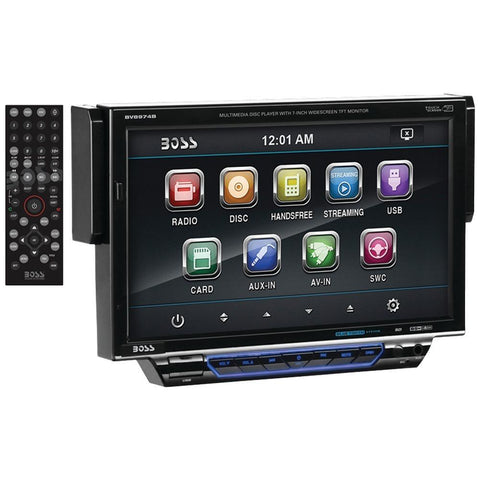 BOSS AUDIO BV8974B 7 Single-DIN In-Dash Drop-down DVD/MP3/CD & AM/FM Receiver with Bluetooth(R)