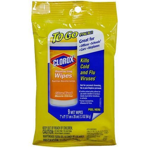 Clorox To Go Wipes 9 Count Citrus Disinfecting Wipes