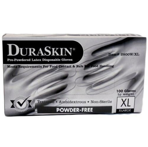 Dura Skin Latex Gloves X-large 100 count Powder free