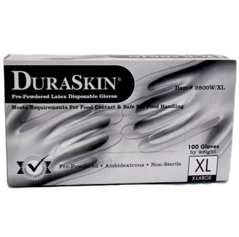 Dura Skin Latex Gloves X-Large Pre-Powedred