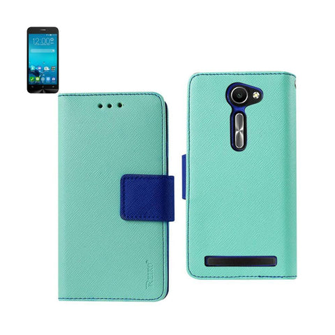 Reiko Wallet Case 3 In 1 For Asus Zenfone 2E Green With Interior Leather-Like Material And Polymer Cover