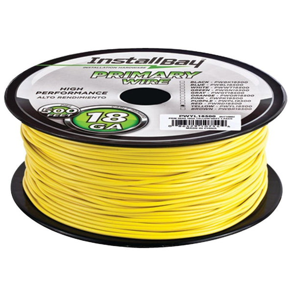 INSTALL BAY PWYL18500 18-Gauge Primary Wire, 500ft (Yellow)
