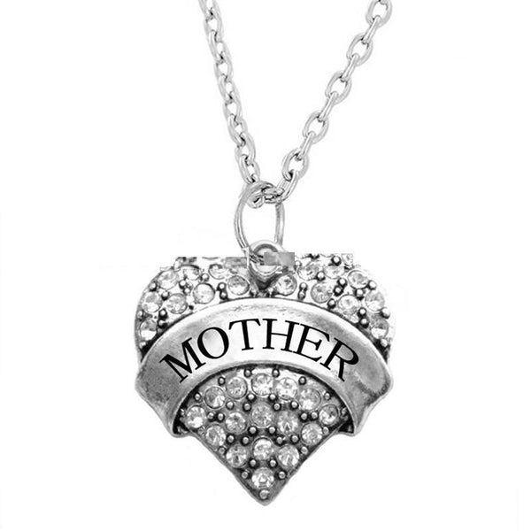 Crystal Silver Mother Heart Necklace