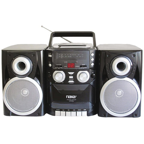 Naxa(R) NPB426 Portable CD Player with AM/FM Radio, Cassette & Detachable Speakers