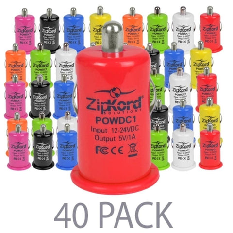 (40-Pack) ZipKord POWDC1 1.0A Single Port USB Car Charger (Assorted Colors)