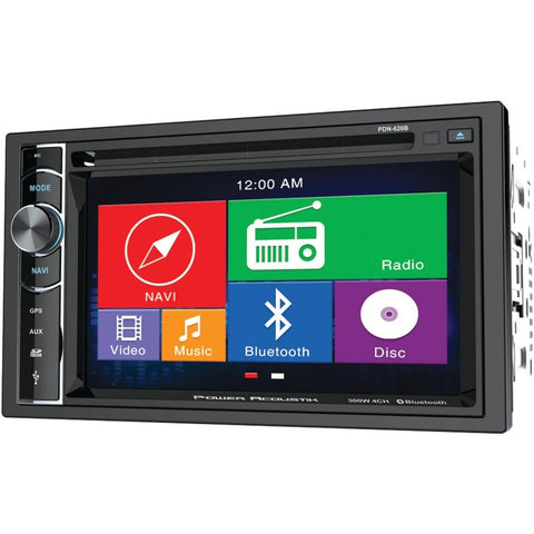 POWER ACOUSTIK PDN-626B 6.2 Double-DIN In-Dash GPS Navigation LCD Touchscreen DVD Receiver with Bluetooth(R)