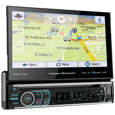 POWER ACOUSTIK PDN-721HB 7 Incite Single-DIN In-Dash GPS Navigation Motorized LCD Touchscreen DVD Receiver with Detachable Face & Bluetooth(R)