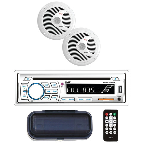 PYLE PLCDBT65MRW Marine Single-DIN In-Dash CD AM/FM Receiver with Two 6.5 Speakers, Splashproof Radio Cover & Bluetooth(R) (White)