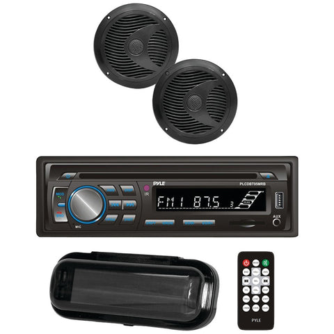 Pyle(R) PLCDBT75MRB Marine Single-DIN In-Dash CD AM/FM Receiver with Two 6.5 Speakers, Splashproof Radio Cover & Bluetooth(R) (Black)