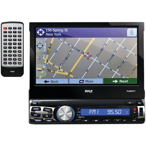 Pyle(R) PLRNV71 7 Single-DIN In-Dash Navigation Mechless LCD Motorized Touchscreen Receiver with Bluetooth(R)