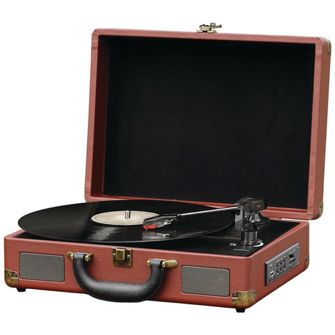 Pyle Home(R) PVTTBT9BR Bluetooth(R) Vintage Briefcase-Style Turntable Speaker System