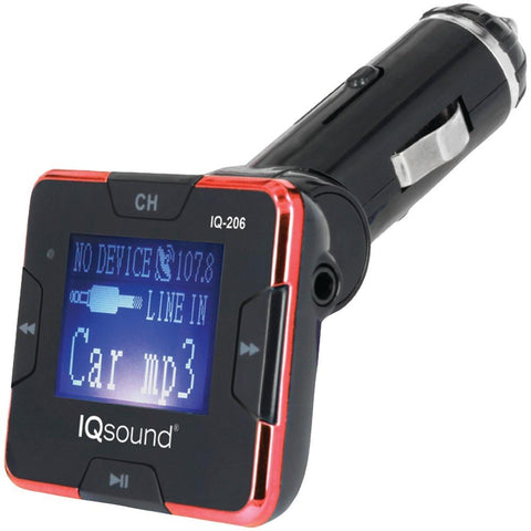 Supersonic IQ-206 RED Wireless FM Transmitter with 1.4 Display (Red)