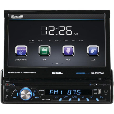 SOUNDSTORM SD726MB 7 Single-DIN In-Dash DVD Receiver with Motorized Touchscreen Digital TFT Monitor (With Bluetooth(R))