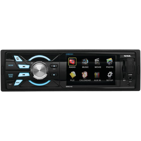 SOUNDSTORM SM316 3.2 Single-DIN In-Dash Digital Media Receiver with Widescreen Digital TFT Monitor