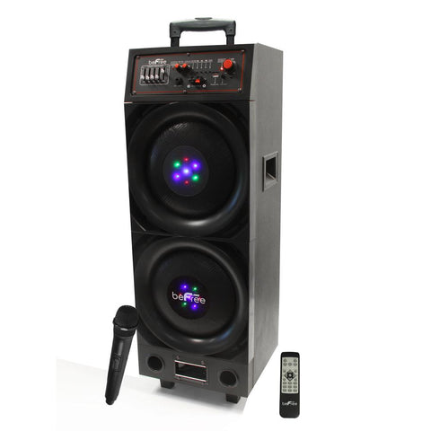 beFree Sound 10 Double Subwoofer Rechargeable Bluetooth Portable Speaker 800W with USB/SD FM Radio