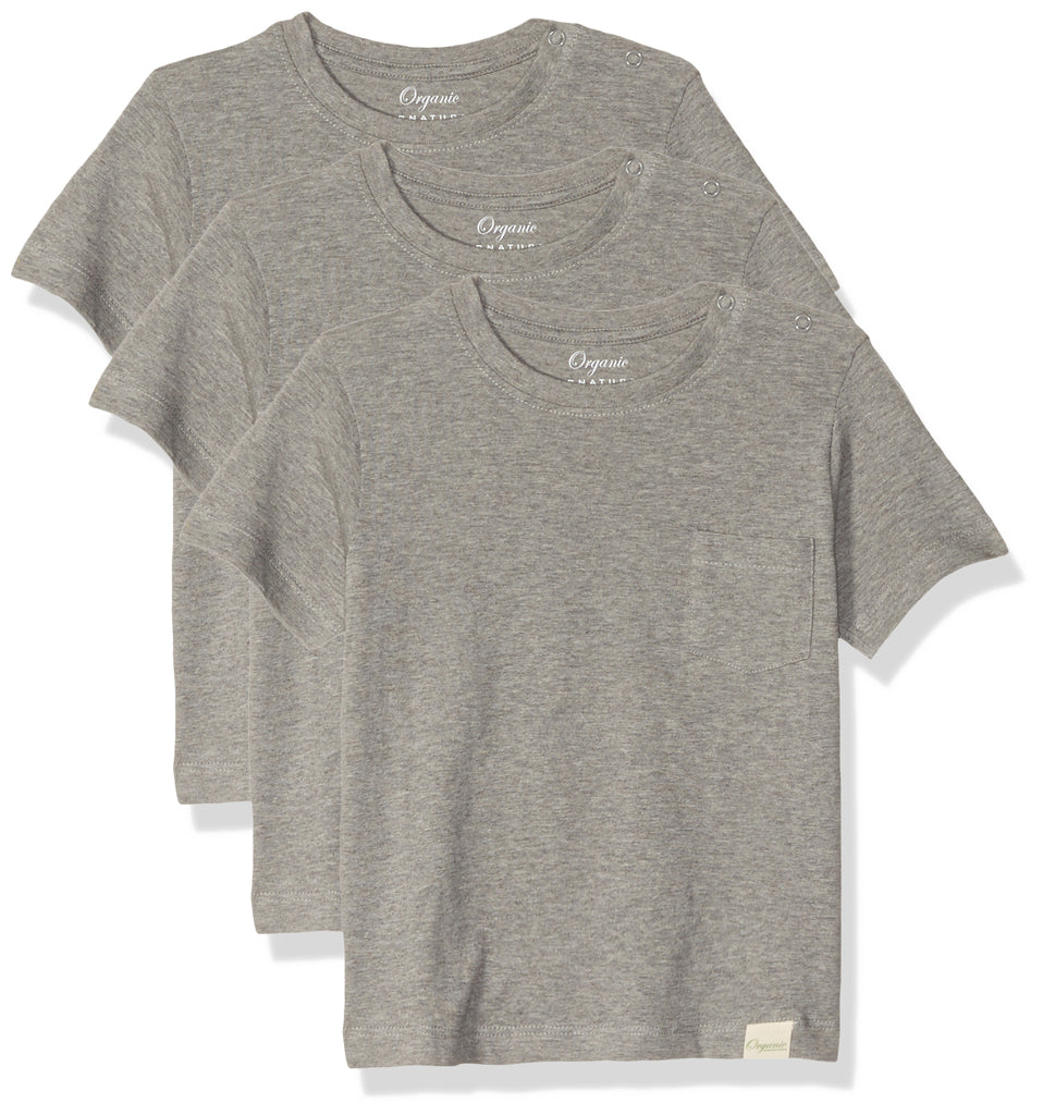 Heather Grey Baby Boys T-Shirts, Set of 3 Organic Short-Sleeve Pocket Crewneck Tees