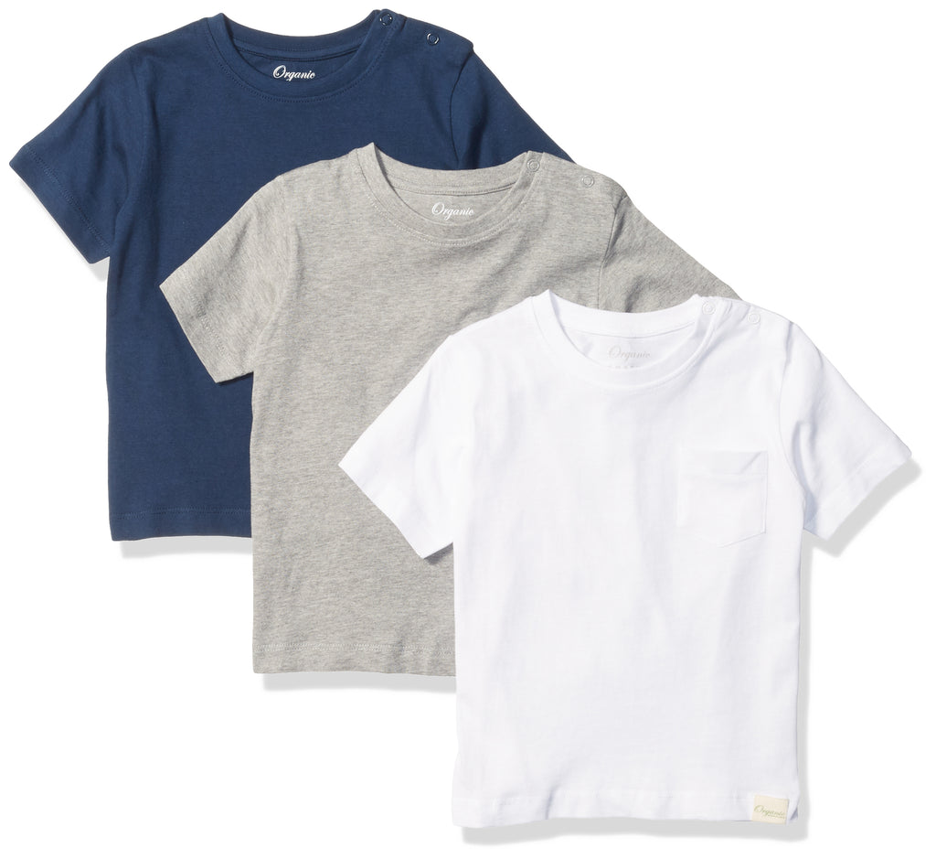Multi Pack Baby Boys T-Shirts, Set of 3 Organic Short-Sleeve Pocket Crewneck Tees