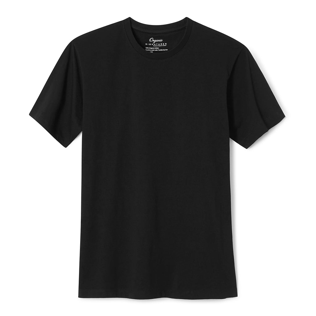 Black Organic Cotton T Shirt for Men, Crewneck, Short Sleeve