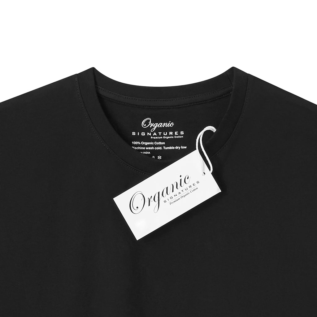 Black Organic Cotton T Shirt for Men, Crewneck, Short Sleeve (close up of neck tag)