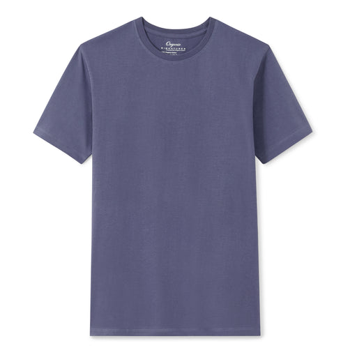 Blue Organic Signatures T Shirt for Men, Crewneck, Short Sleeve