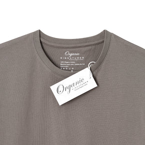 Grey Organic Signatures T-Shirt For Men, Crew Neck, Short Sleeve (close up of neck tag)
