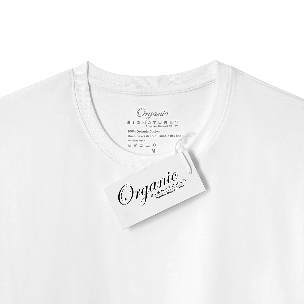 White Organic Signatures T-Shirt For Men, Crewneck, Short Sleeve (close up of neck tag)