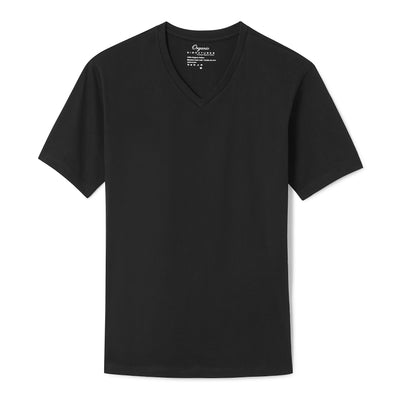 Black Organic Cotton T Shirt for Men, V Neck, Short Sleeve