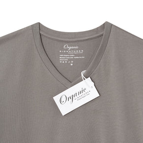 Grey Organic Signatures T Shirt for Men, V Neck, Short Sleeve (close up of neck tag)