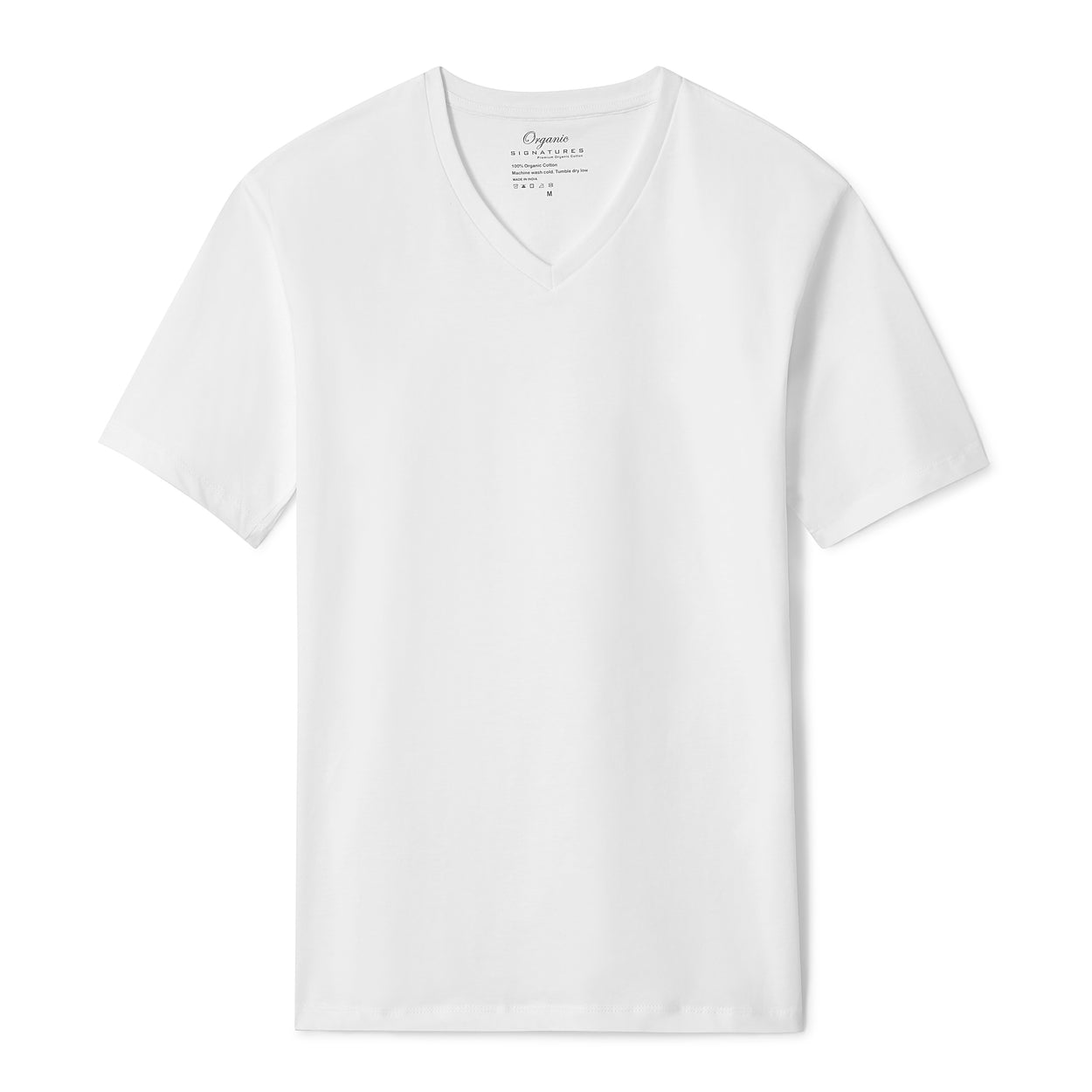 White Organic Signatures T Shirt for Men, V Neck, Short Sleeve