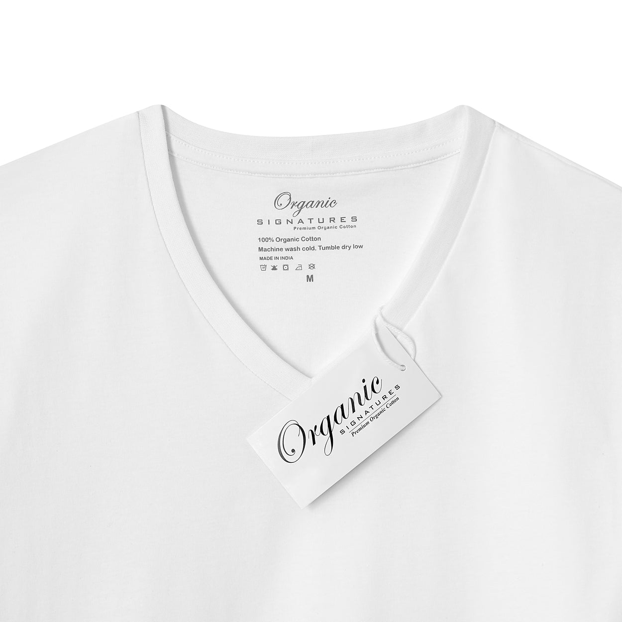 White Organic Signatures T Shirt for Men, V Neck, Short Sleeve (close up of neck tag)