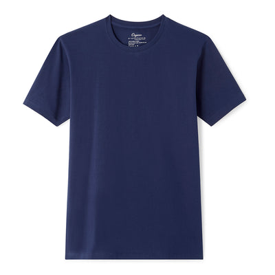 Navy Blue Organic Signatures T-Shirt For Men, Crewneck, Short Sleeve