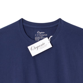 Navy Blue Organic Signatures T-Shirt For Men, Crewneck, Short Sleeve (close up of neck tag)