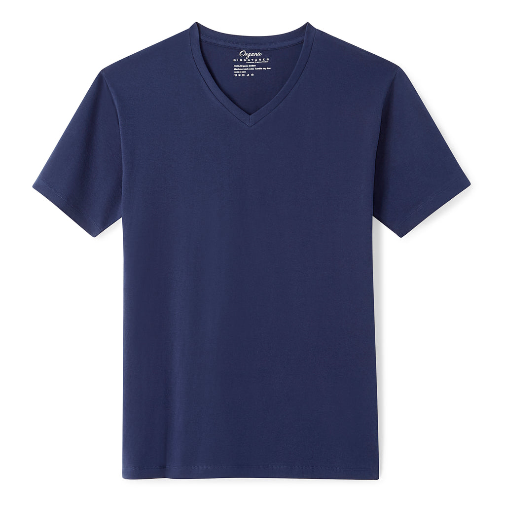 Navy Blue Organic Signatures T-Shirt For Men, V-Neck, Short-Sleeve