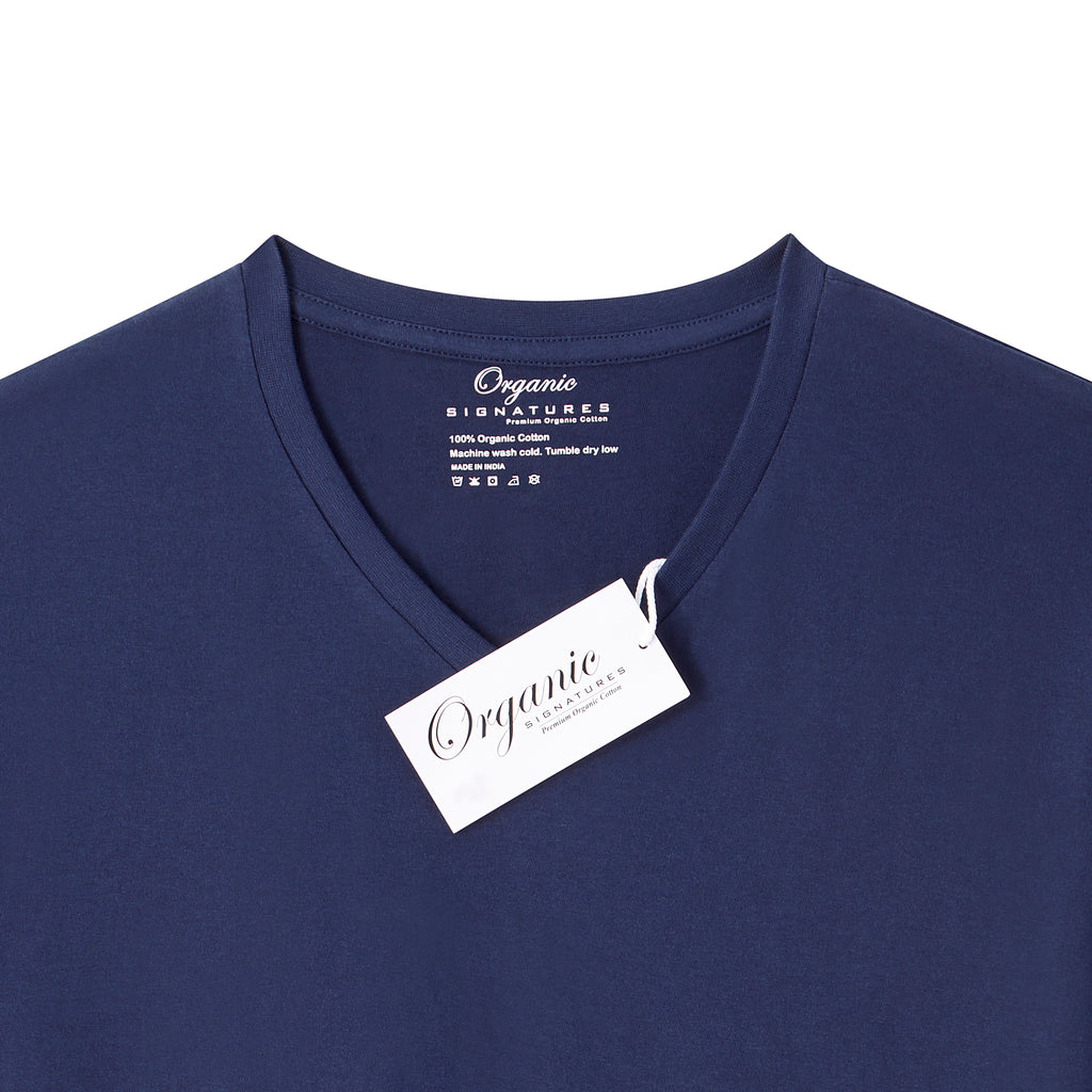 Navy Blue Organic Signatures T-Shirt For Men, V-Neck, Short-Sleeve (close up of tag)