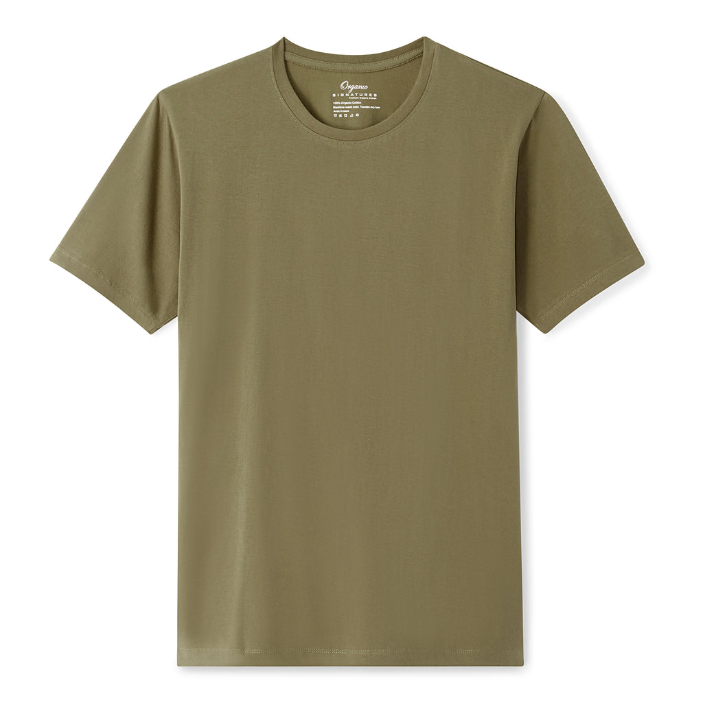 Olive Organic Signatures T-Shirt For Men, Crewneck, Short Sleeve