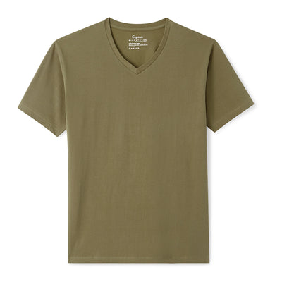 Olive Organic Signatures T-Shirt For Men, V-Neck, Short Sleeve
