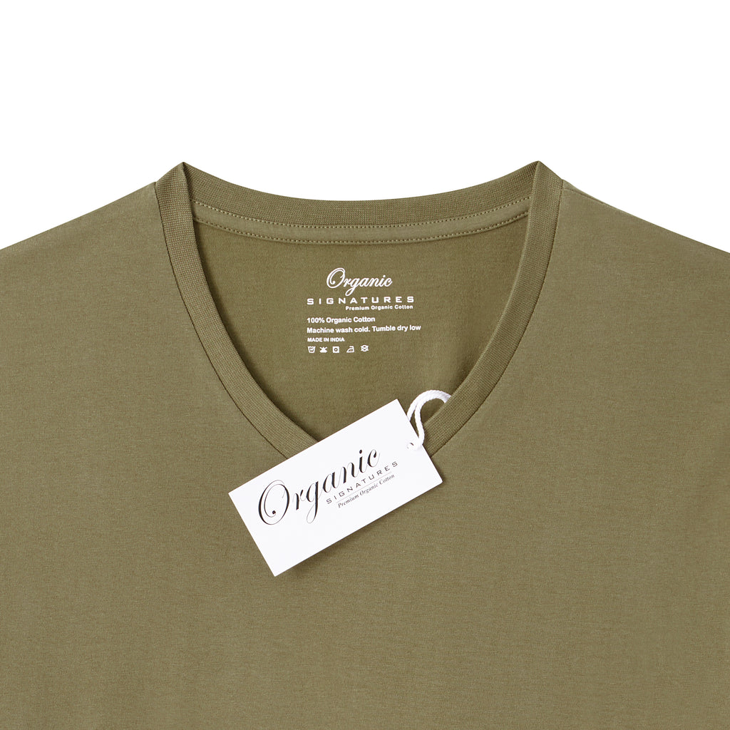 Olive Organic Signatures T-Shirt For Men, V-Neck, Short Sleeve (close up of neck tag)