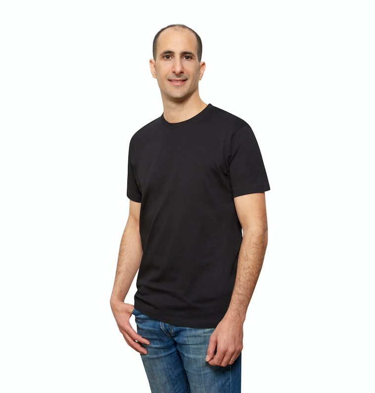 Black Organic Cotton T Shirt for Men, Crewneck, Short Sleeve (side view)