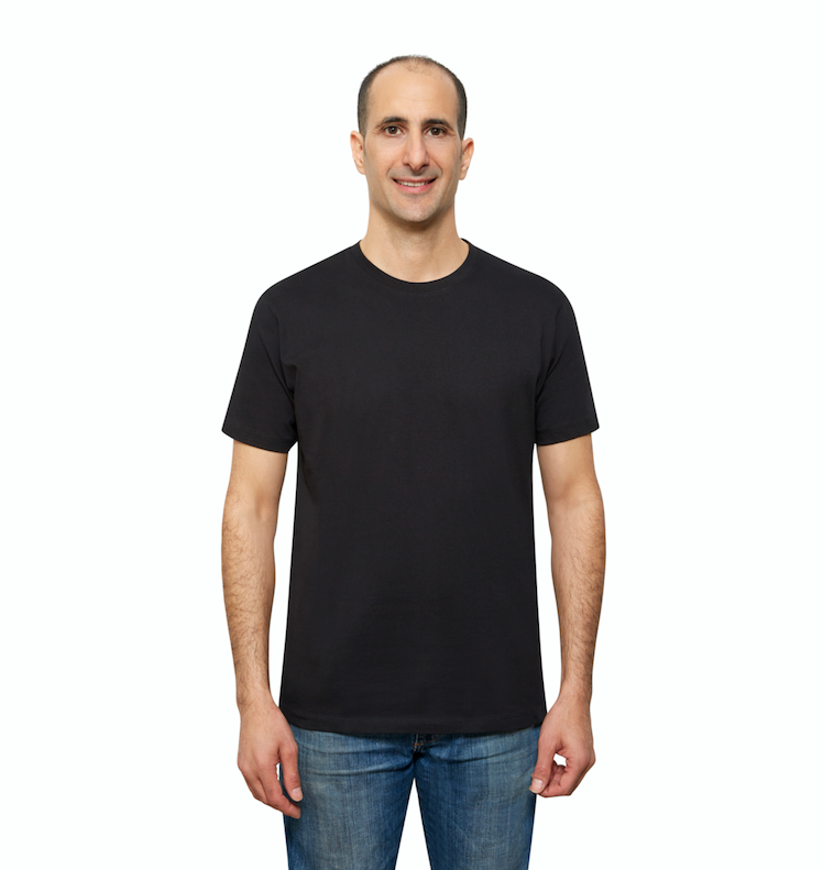 Black Organic Cotton T Shirt for Men, Crewneck, Short Sleeve (front view)