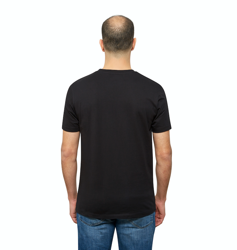 Black Organic Cotton T Shirt for Men, Crewneck, Short Sleeve (back view)