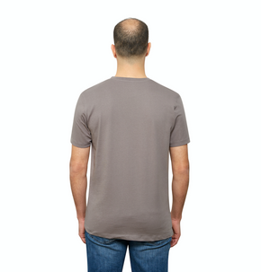 Grey Organic Signatures T-Shirt For Men, Crew Neck, Short Sleeve (back view)