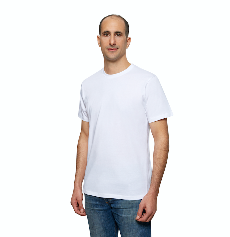 White Organic Signatures T-Shirt For Men, Crewneck, Short Sleeve (side view)