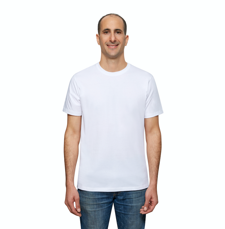 White Organic Signatures T-Shirt For Men, Crewneck, Short Sleeve (front view)