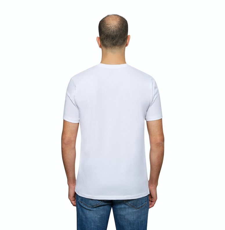 White Organic Signatures T-Shirt For Men, Crewneck, Short Sleeve (back view)